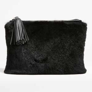 Rebecca Minkoff Rabbit Fur and Leather Zip Pouch